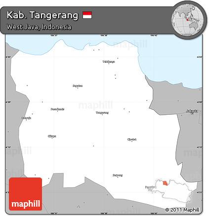 Free Gray Simple Map of Kab Tangerang