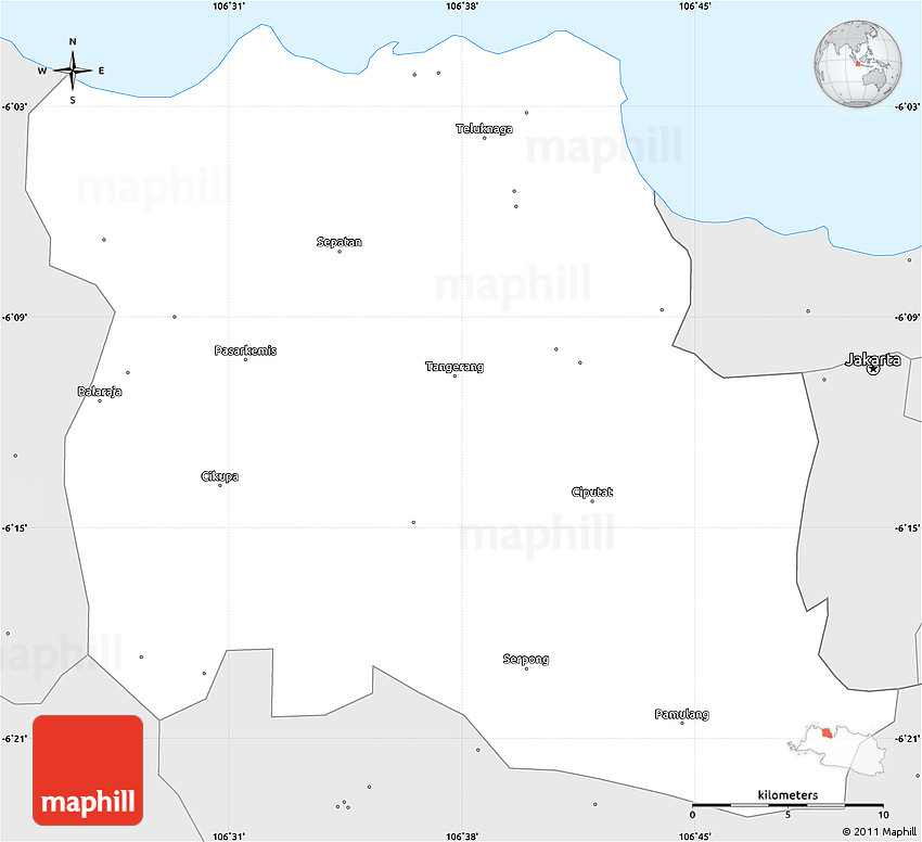 Silver Style Simple Map of Kab Tangerang