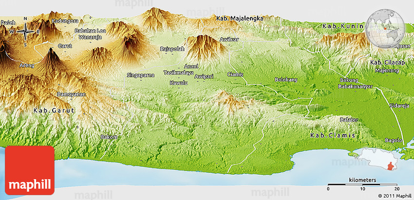 Physical Panoramic Map of Kab Tasikmalaya