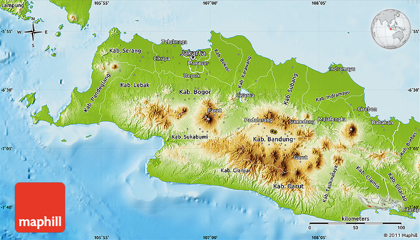 physical map of west java