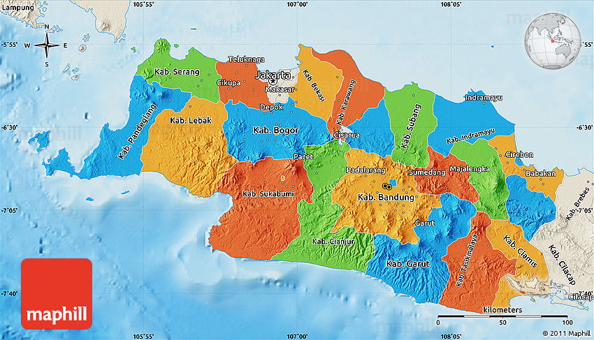 Political map of west java shaded relief outside 2d gumiabroncs Choice Image