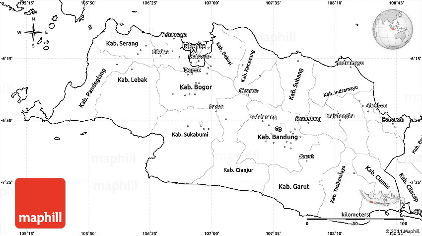 Blank Simple Map Of West Java - Blank map of the west