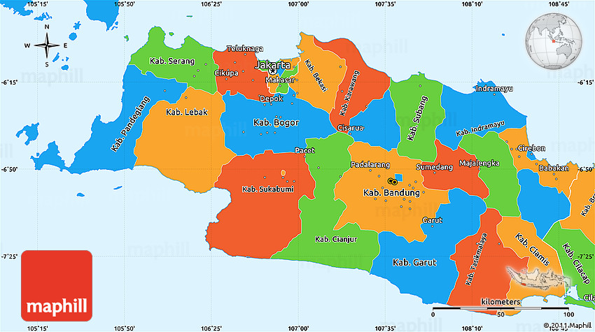 Political simple map of west java gumiabroncs