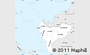 Silver Style Simple Map of West Kalimantan