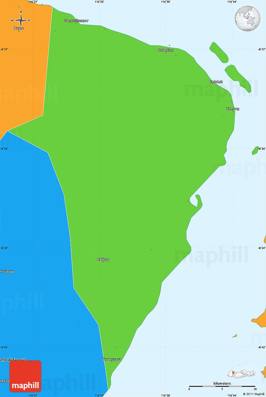 Political Simple Map of Kab. Lombok Timur