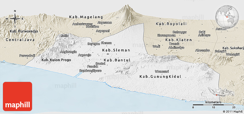 Classic Style Panoramic Map of Yogyakarta