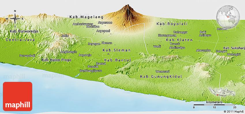 Physical Panoramic Map of Yogyakarta