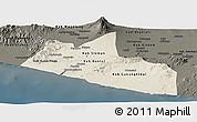Shaded Relief Panoramic Map of Yogyakarta, darken