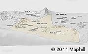 Shaded Relief Panoramic Map of Yogyakarta, desaturated