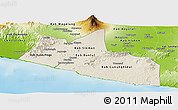Shaded Relief Panoramic Map of Yogyakarta, physical outside