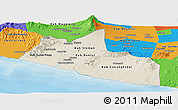 Shaded Relief Panoramic Map of Yogyakarta, political outside