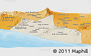 Shaded Relief Panoramic Map of Yogyakarta, political shades outside