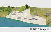 Shaded Relief Panoramic Map of Yogyakarta, satellite outside
