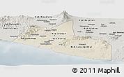 Shaded Relief Panoramic Map of Yogyakarta, semi-desaturated
