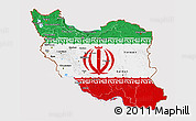 Flag 3D Map of Iran, flag centered