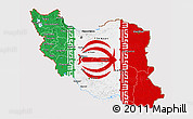 Flag 3D Map of Iran, flag aligned to the middle