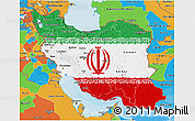 Flag 3D Map of Iran, political outside