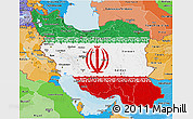 Flag 3D Map of Iran, political shades outside