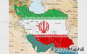 Flag 3D Map of Iran, satellite outside