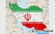 Flag 3D Map of Iran, shaded relief outside