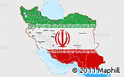 Flag 3D Map of Iran, single color outside, bathymetry sea