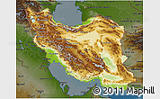 Physical 3D Map of Iran, darken