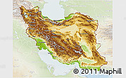 Physical 3D Map of Iran, lighten