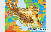Physical 3D Map of Iran, political outside, shaded relief sea