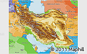 Physical 3D Map of Iran, political shades outside, shaded relief sea