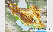 Physical 3D Map of Iran, semi-desaturated, land only