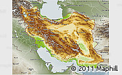 Physical 3D Map of Iran, semi-desaturated