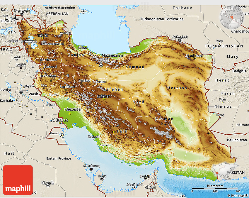 Physical 3d map of iran shaded relief outside gumiabroncs Image collections