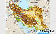 Physical 3D Map of Iran, shaded relief outside