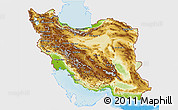 Physical 3D Map of Iran, single color outside