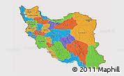 Political 3D Map of Iran, cropped outside