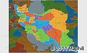 Political 3D Map of Iran, darken