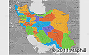 Political 3D Map of Iran, desaturated