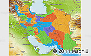 Political 3D Map of Iran, physical outside