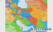 Political 3D Map of Iran, political shades outside