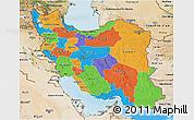 Political 3D Map of Iran, satellite outside, bathymetry sea