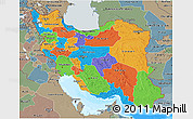 Political 3D Map of Iran, semi-desaturated, land only