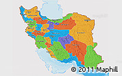 Political 3D Map of Iran, single color outside