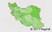 Political Shades 3D Map of Iran, cropped outside