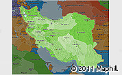 Political Shades 3D Map of Iran, darken