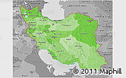 Political Shades 3D Map of Iran, desaturated