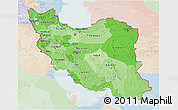 Political Shades 3D Map of Iran, lighten