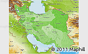 Political Shades 3D Map of Iran, physical outside