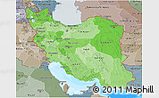 Political Shades 3D Map of Iran, semi-desaturated, land only