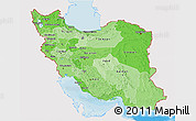 Political Shades 3D Map of Iran, single color outside