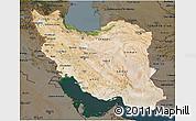 Satellite 3D Map of Iran, darken